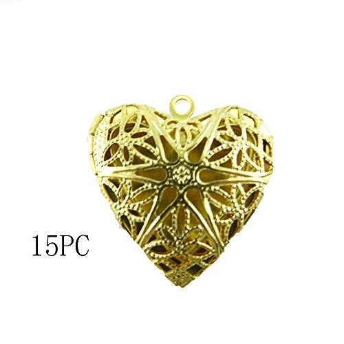 Honbay Photo Pendant - Heart Shape Photo Locket Frame Pendants Charms, Pack of 15, 26x26mm (Gold)