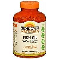 Sundown Naturals Fish Oil, 1000 mg, Softgels, 200 ct (Pack of 3)
