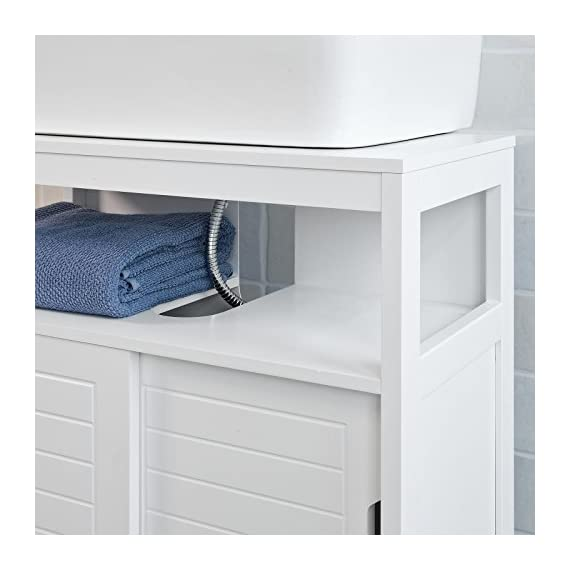 Haotian White Under Sink Bathroom Storage Cabinet with Shelf and Double Sliding Door,Bathroom Vanity 60x30x60cm,FRG128-W - White Under Sink Bathroom Storage Cabinet is perfect for your modern or traditional decor. It has 1 shelf and double sliding door with internal spacious space. Material/Finish: White MDF. Dimension:W23.62 x D11.81 x H23.62 inch. - bathroom-vanities, bathroom-fixtures-hardware, bathroom - 413NN6IDfRL. SS570  -