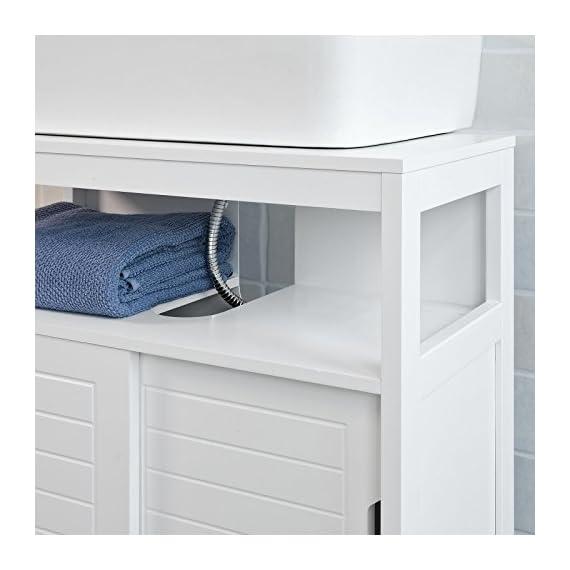 Haotian White Under Sink Bathroom Storage Cabinet with Shelf and Double Sliding Door,Bathroom Vanity (FRG128-W) -  - bathroom-vanities, bathroom-fixtures-hardware, bathroom - 413NN6IDfRL. SS570  -