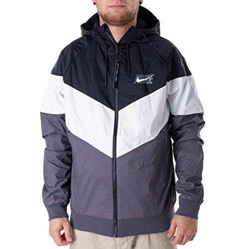 Nike Mens HD GX Windrunner Hooded Track Jacket Black/Summit White/Dark Grey AJ1396-010 Size Small by Nike (Image #2)