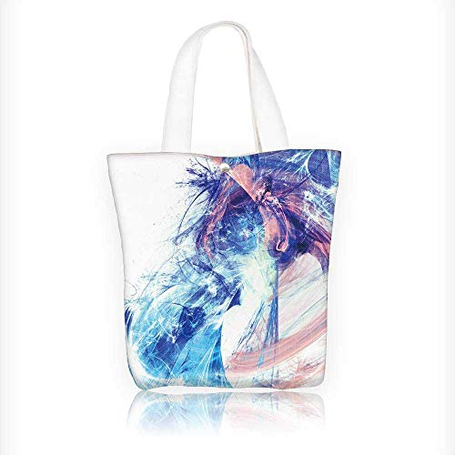 Reusable Cotton Canvas Zipper bag shiny smoke in blue and pink color dynamic bright background with light Tote Laptop Beach Handbags W16.5xH14xD7 INCH