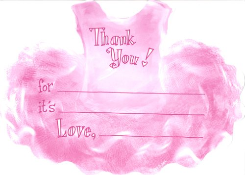 Girls Tutu Thank You Cards, Fill-in Style, 8 Pack