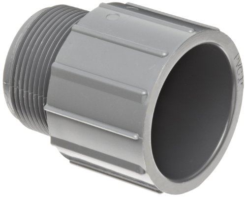 "GF Piping Systems PVC Pipe Fitting, Adapter, Schedule 80, Gray, 2"" NPT Male x Slip Socket from GF Piping Systems"