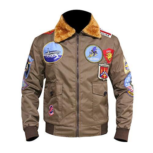 Top Gun Tom Cruise Jet Fighter Bomber Jacket TopGun Cordura Jacket (X-Large (Best for Chest Size 46)) Brown (Top Gun Damen Jacke Kostüm)