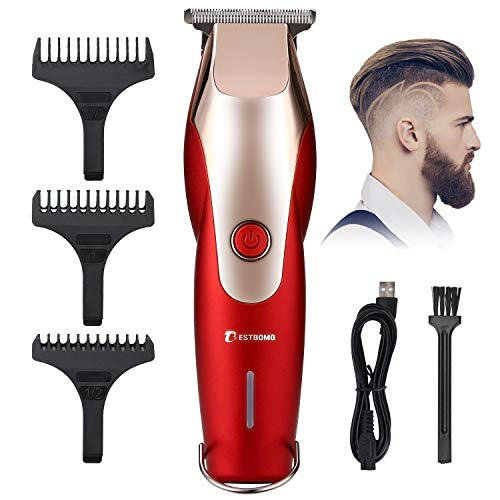 BESTBOMG 0-Gapped Hair Trimmer for Men/Kids with 1200mAh Li-Ion Battery, Long-Lasting T-outliner Shaving Trimmer Kits Precise Stainless Steel T-Blade and Guards