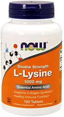 NOW Supplements, L-Lysine 1000 mg, Double Strength, Amino Acid, 100 Tablets