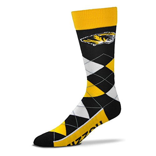 For Bare Feet NCAA Argyle Lineup Unisex Crew Dress Socks-One Size Fits Most-Missouri Tigers ()