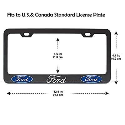 2pcs fit Ford Front and Rear License Plate Frames,Newest Matte Aluminum Alloy Plate Frame to Decorate Your License Plate Cover,Screw Caps Included (for Ford License Plate Frames-Silver): Automotive