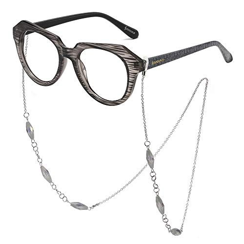 - SOOLALA Striped Reading Glass Eyeglass Frame with Necklace Chains Retainer, Gray, 3.5