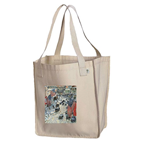 Flags On 5Th Ave Winter 1918 (Hassam) Organic Cotton Canvas Market Tote - 5th Ave Shopping