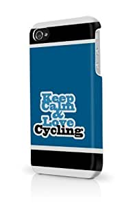 Blue Keep Calm And Love Cycling iPhone 5 & 5S - Fits iPhone 5 & 5S Full Print Plastic Snap On Case