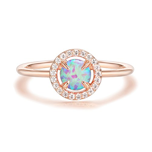 Pink Ring (PAVOI 14K Rose Gold Plated CZ and Created Pink Opal Ring)