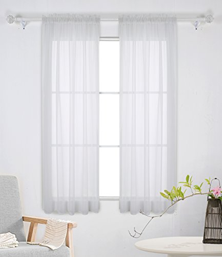 Deconovo White Sheer Curtains 63 Inch Length-Rod Pocket Voile Drape Curtains for Bedroom 2 Panels 38x63 Inch
