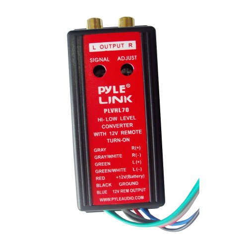 2-Channel Hi-Level To Low-Level Converter - Auto Adjustable w/ 12V Remote Turn-On, Dual Channel, Full DC Isolation, Easy To Install, Sound w/ RCA Functions - Pyle PLVHL70