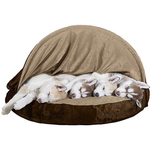 (FurHaven Pet Dog Bed | Orthopedic Round Microvelvet Snuggery Burrow Pet Bed for Dogs & Cats, Espresso, 35-inch)