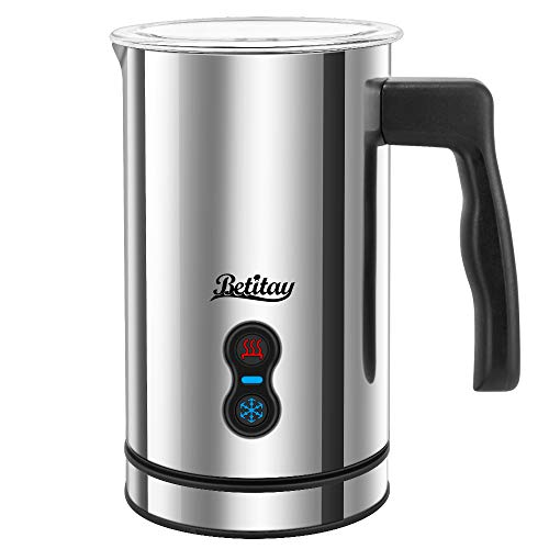 Milk Frother, Betitay Electric Hot Milk Heater for Cappuccino, Stainless Steel Steamer Strix Controller System Milk Warmer and Coffee Foam Maker with Non-stick Coating