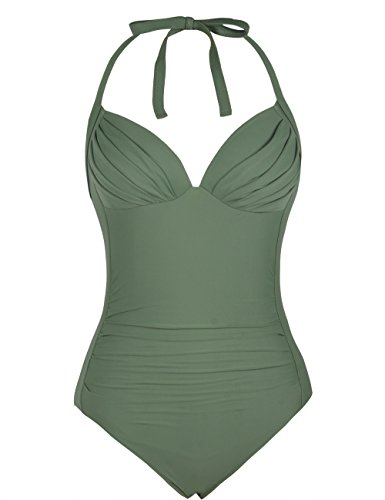Firpearl Women's One Piece High Waisted Halter V Plunge Retro Ruched Swimsuit Army Green 6