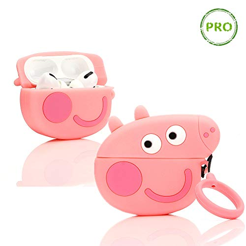 ZAHIUS Airpods Pro Silicone Case Funny Cover Compatible for Apple Airpods Pro[3D Cartoon Pattern][Designed for Kids Girl and Boys][Peppa Pig]
