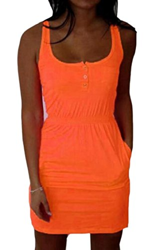 Women Waist Wear Vest Pure Stylish Jaycargogo Dress Color Orange Beach Smocked SdxaqnHWHZ