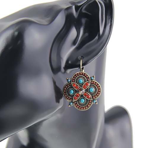 Silver Clip On Earring Vintage Crystal Multicolor Beads Clover Statement Clip Earrings For Women Vintage Sterling Silver Clip