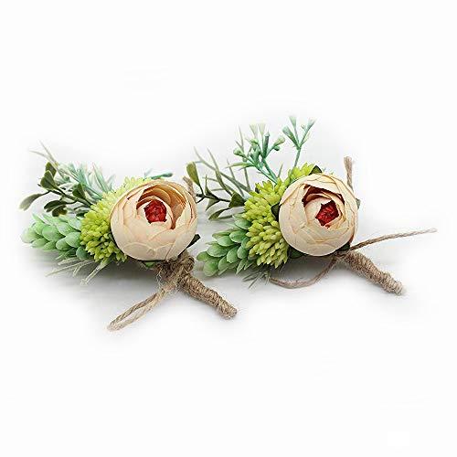 Yokoke Artificial Peony Silk Flower Boutonniere Bouquet Corsage Wristlet Vintage Fake Succulent Plants Pink Peach For Wedding Decor 2 Pcs]()