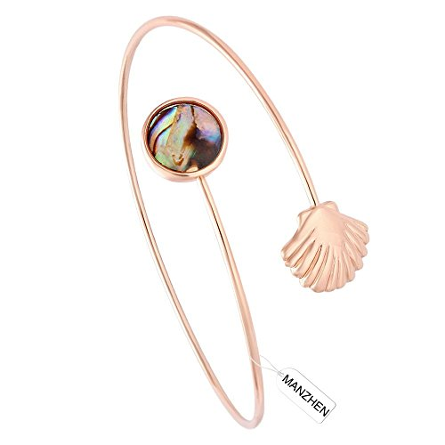 MANZHEN 3 Colors Easy Open Adjustable Abalone Shell Sea Shell Cuff Wrapped Bangle Bracelets Wire Bangle (rose gold) (Gold Seashell Bracelet)