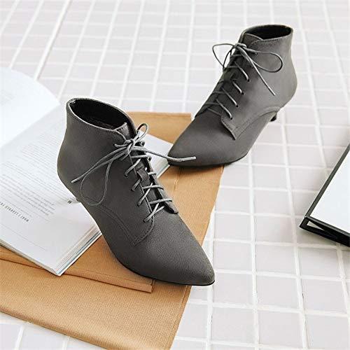 HCBYJ Stiefel Heel Winter High Stiefel Damenschuhe mit Herbst Damen High und Kurze Stiefel Spitzen Heels rwqrOY