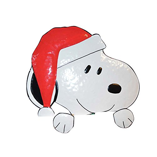 ProductWorks 16-Inch Peanuts Santa Snoopy Metal Peep-Over Christmas (Christmas Snoopy)