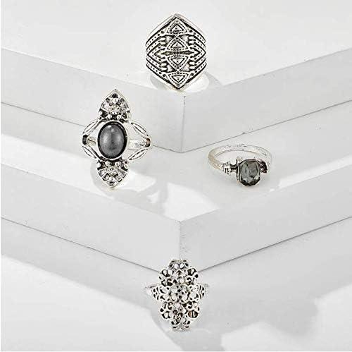 anelli dorati boh/émien anelli per ragazze vintage con gemme di cristallo Cathercing gioielli Fesvital per adolescenti e feste quotidiane set di 4 anelli da donna set di anelli a nodo