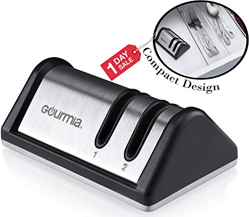Gourmia GSH9710 2 Stage Compact Design Knife Sharpener Stainless Steel Portable Honing Station With Coarse & Extra Fine Sharpening
