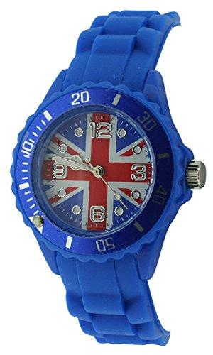 England Union Jack Quartz Dial Ladies Fashion Rubber Navy Blue Strap Watch UJ12C (Dial Flag Bezel)