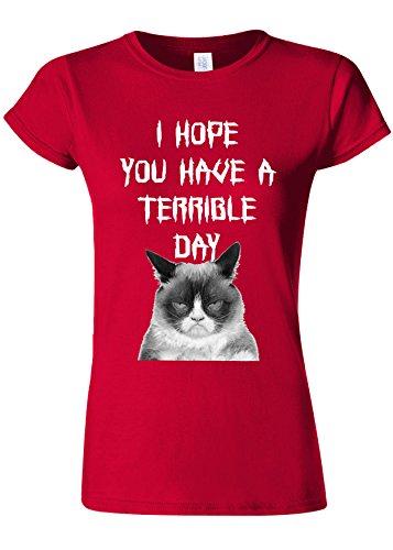 パキスタン人添加止まるI Hope You Have a Terrible Day Grumpy Cat Novelty Cherry Red Women T Shirt Top-M