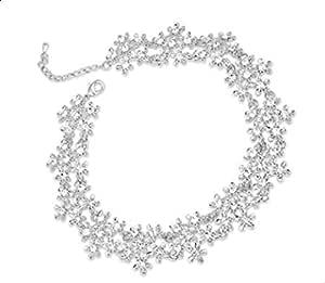 قلادات حُلي على شكل زهور مرصعة بالمجوهرات من فاشون للسيدات