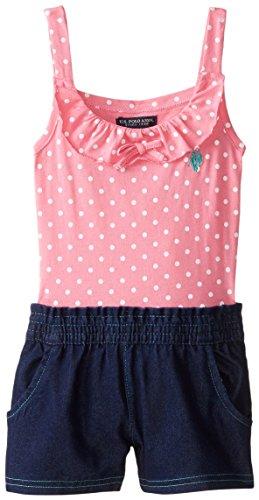 U.S. POLO ASSN. Little Girls' Polka Dot Print Jersey Top and Denim Short Romper, Pink Zinc, 4
