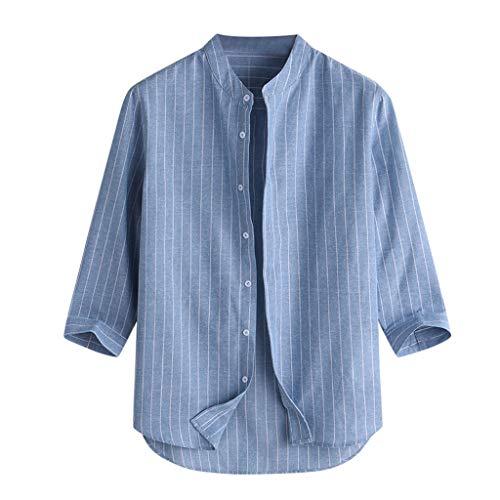 Men's Striped Shirts Light Weight Comfy Long Sleeves Traditional Grandad Shirt, Hippy Boho, Button Down Shirt T-Shirts Blue