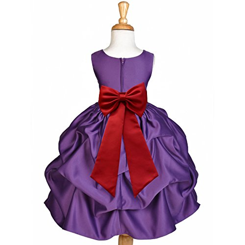 ekidsbridal Purple Pick-Up Satin Bubble Flower Girl Dress Ballroom Dance Dresses 208T M by ekidsbridal
