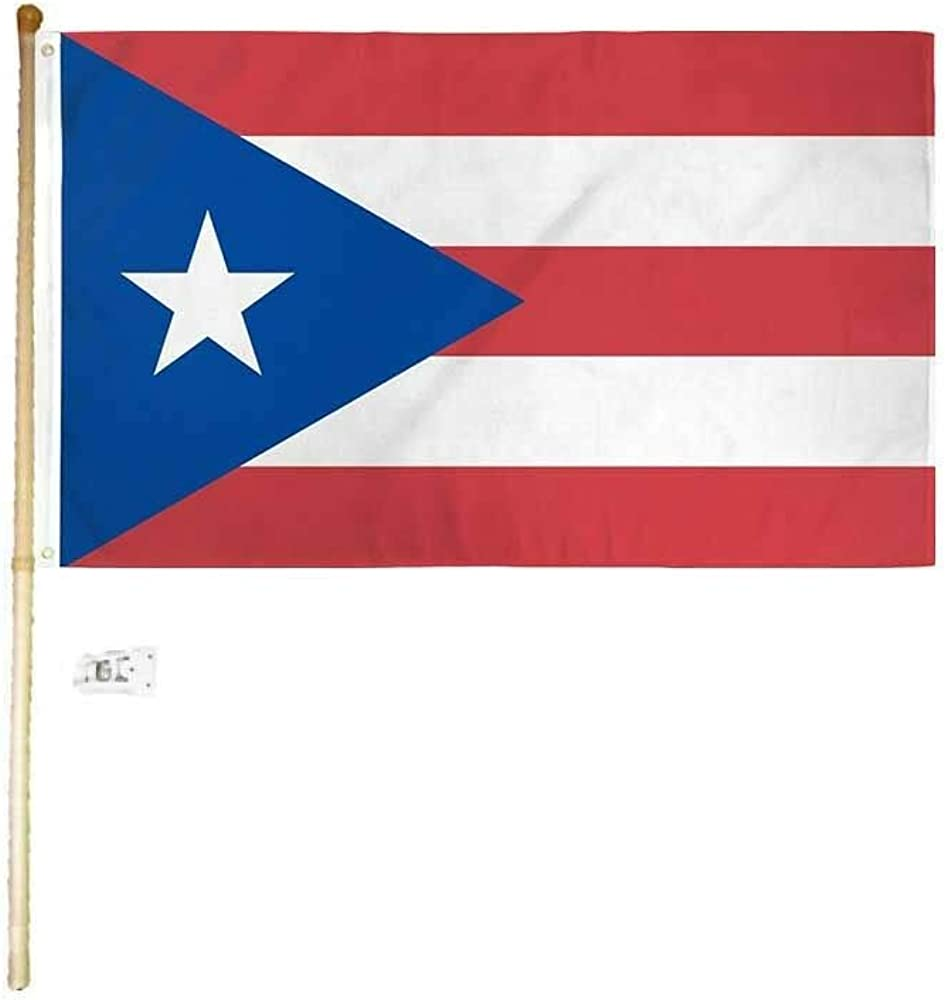 5 Foot Wooden Flag Pole Kit Wall Mount Bracket With 3x5 Puerto Rico House Flag
