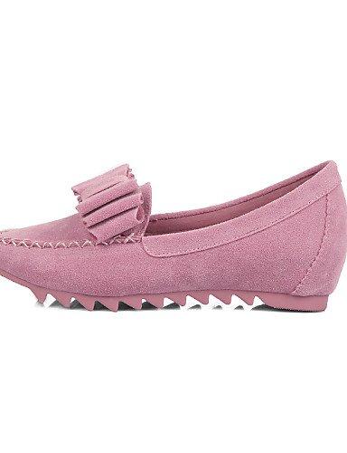 PDX/ Damenschuhe-Ballerinas-Kleid / Lässig-Wildleder-Flacher Absatz-Mokassin / Spitzschuh / Geschlossene Zehe-Schwarz / Blau / Rosa / Lila , pink-us4-4.5 / eu34 / uk2-2.5 / cn33 , pink-us4-4.5 / eu34