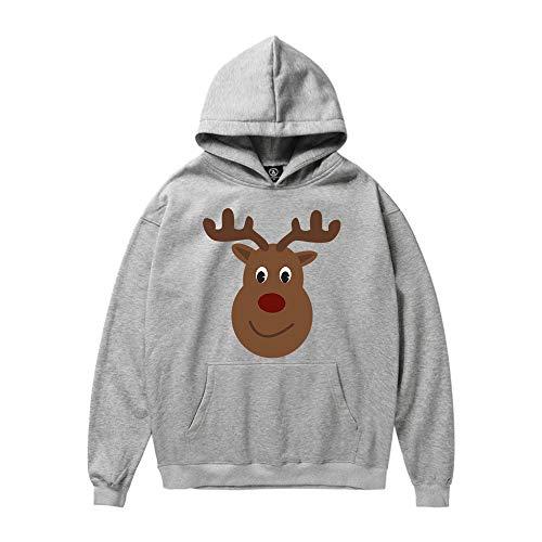 Unisex Women Men Christmas Casual Fashion Hoodies ODGear Santa Claus Elk Cat Print Hooded Sweatshirt Tops Blouse