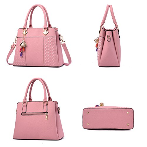 Light Shoulder Top Tote Pink Barwell Bags Women's Handle Handbags PU Leather qzxATOT1pw