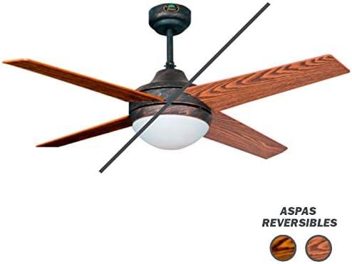 Ventilador de techo modelo EOLO con luz, control remoto, acabado Rustico, 4 palas Cerezo-Nogal 112 cm., AkunaDecor