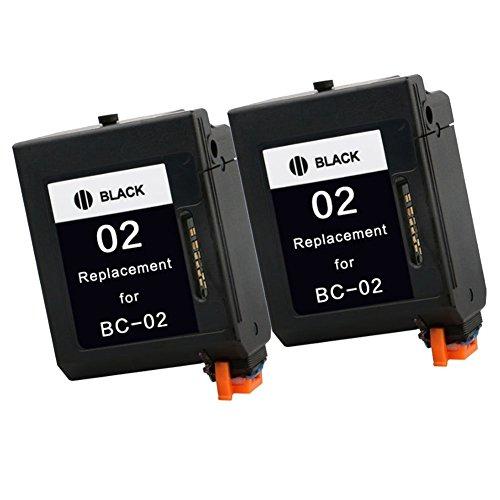 Colour-Store 2x Black Compatible BC-02 For Canon BC 02 Ink Cartridge for Canon BJC-1000 BJC-210 BJC-240 BJC-250 printer inkjet (02 Inkjet Black Cartridge)