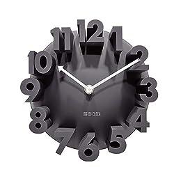 BRXY 3D Big Digital Modern Contemporary Home Office Clock Decor Round Quartz Wall Clock ,Clock Updated Design Home Kitchen Kidsroom Bedroom Decor, Diameter:22CM (9inch) Black