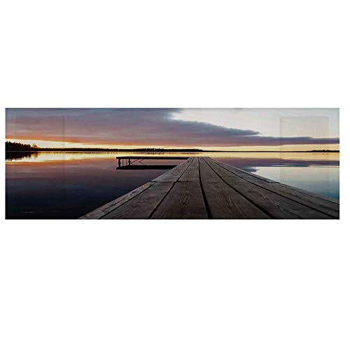 """Art Dustproof Electric Oven Cover,View of Sunset Over an Old Oak Deck Pier and Calm Water of The Lake Horizon Serenity Cover for Kitchen,36""""L x 12""""W"""