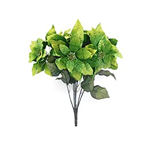 JumpingLight Lime Christmas Poinsettia Bush Artificial Silk Flower 22'' Bouquet 7-3466 LIM Artificial Flowers Wedding Party Centerpieces Arrangements Bouquets Supplies 49