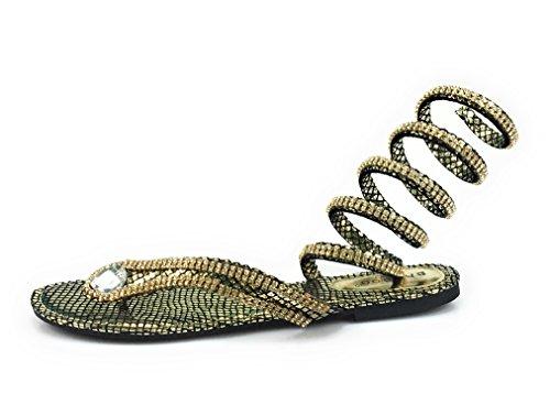 Bambus Kvinners Rhinestone Slange Spiral Leg-wrap Flat Sandal Stil Hensynsløs-01m Goldsnk