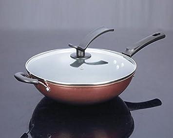 Nueva olla cocina micro campana un wok de hierro antiadherente sartén General , 32cm: Amazon.es: Hogar