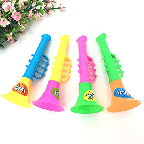 VANVENE 4 Pcs Children's Cartoon Horn Plastic Small Toys Double-Section Sound Instrument Small Trumpet Mini Speaker Removable for Baby Learning-Entertainment Toddler Toys Party Preschool Home