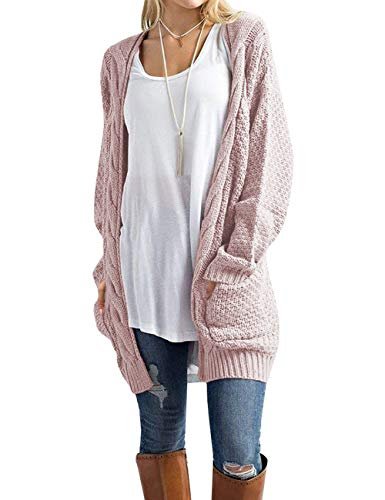 OmicGot Women's Casual Open Front Cable Knit Cardigan Long Sleeve Sweater Coat with Pink S